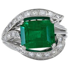 4.86 Carat Green Emerald and Diamond Cocktail Ring