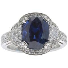 4.86 Carat Myanmar BURMA Sapphire Ring 18 Karat White Gold 18K White Gold