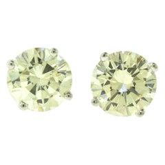 4.86 Carat Round Diamond Studs, EGL Certificate in White Gold