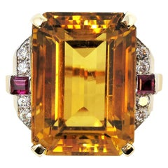 48.67 Carat Citrine, Diamond and Ruby Cocktail Ring in 14 Karat Yellow Gold