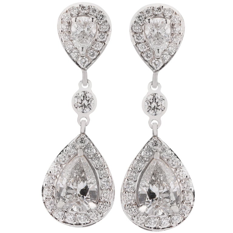 Modern 4.87 Carat Diamond Dangle Earrings For Sale