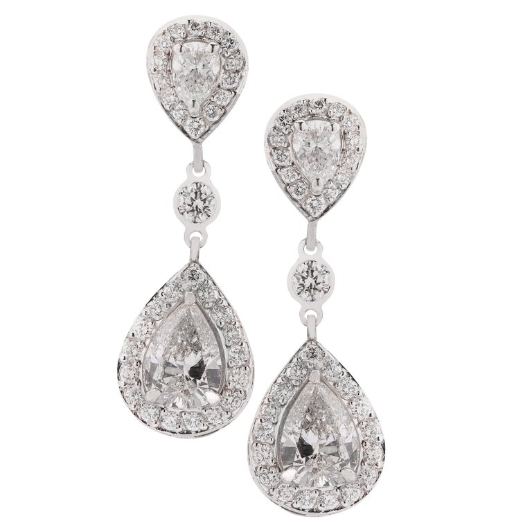 4.87 Carat Diamond Dangle Earrings For Sale