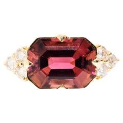 4.87 Carat Emerald Cut Pink Tourmaline and Diamond 18 Carat Gold Cocktail Ring