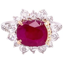 4.87 Carat GRS Certified No Heat Burmese Ruby and Diamond Gold Engagement Ring