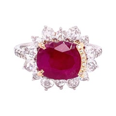 4.87 Carat GRS Certified Unheated Burmese Ruby and Diamond Gold Engagement Ring