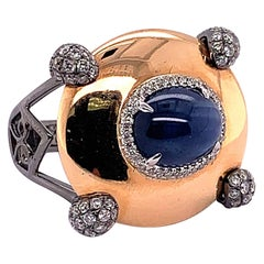 4.87 Carat Oval Blue Sapphire and Diamond Ring