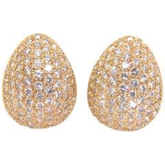 4.87 Carat Pave Set Diamond and 14 Karat Yellow Gold Teardrop Earrings