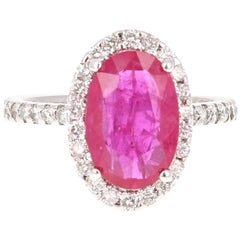 Ruby Diamond 14 Karat White Gold Engagement GIA Certified Ring