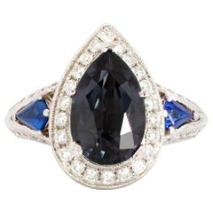 4.87 Carat Pear-shaped Spinel, Kite-Shaped Blue Sapphire and Diamond Ring 18K