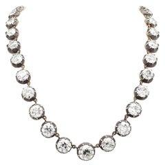 48.73 Carat Old European Cut Diamond Necklace, 7 GIA Certificates