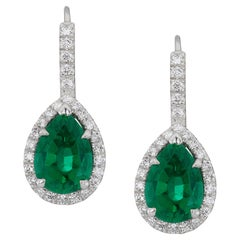 4.88 Carat African Pear Shape Emerald and Diamond Earrings with Lever Backs