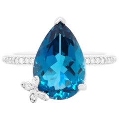 4.88 Carat Blue Topaz and Diamond Butterfly Ring