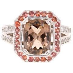 4.88 Carat Tourmaline Diamond Orange Sapphire 14 Karat White Gold Ring