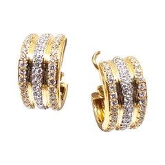 4.88 Carat Yellow Gold Diamond Hoop Earrings