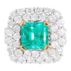 4.88 Ct Colombian Emerald 5.03 Ct Diamond Dress Ring Set in 18 Karat White Gold