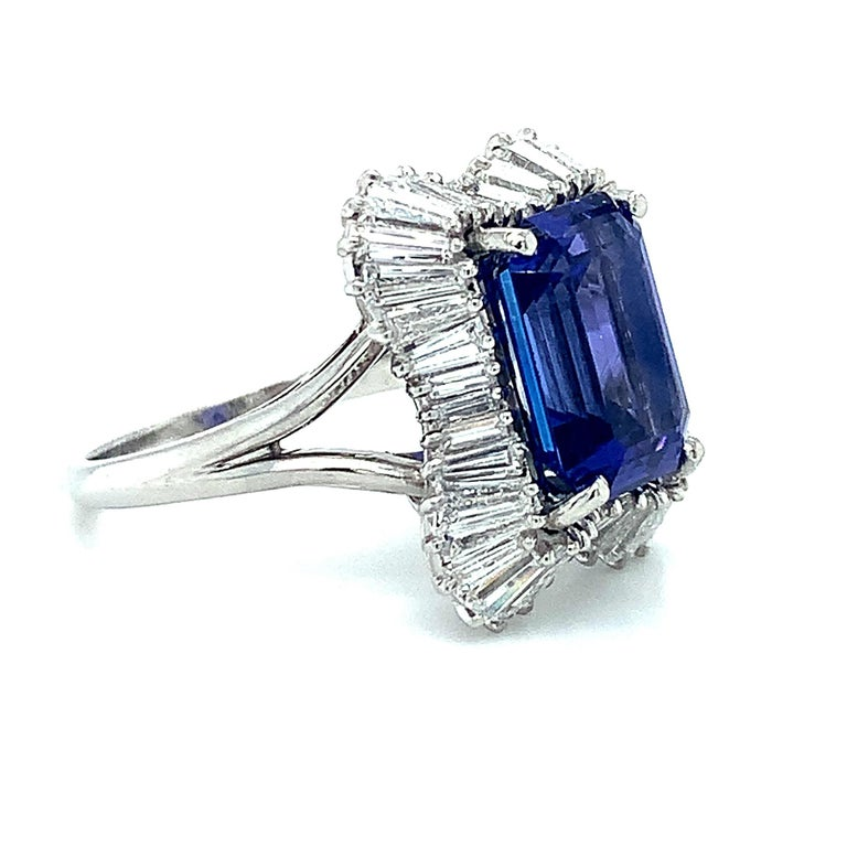 4.89 Carat Emerald Cut Tanzanite, Diamond Baguette Cocktail Platinum Ring In New Condition For Sale In Los Angeles, CA