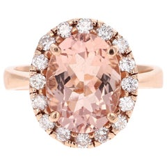 4.89 Carat Morganite Diamond Rose Gold Ring