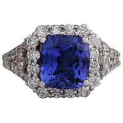 4.89 Carat Natural Tanzanite 18 Karat White Gold Diamond Ring