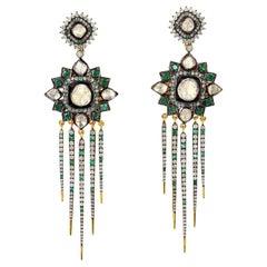 4.89 Carat Rosecut Diamond Emerald Spike Earrings