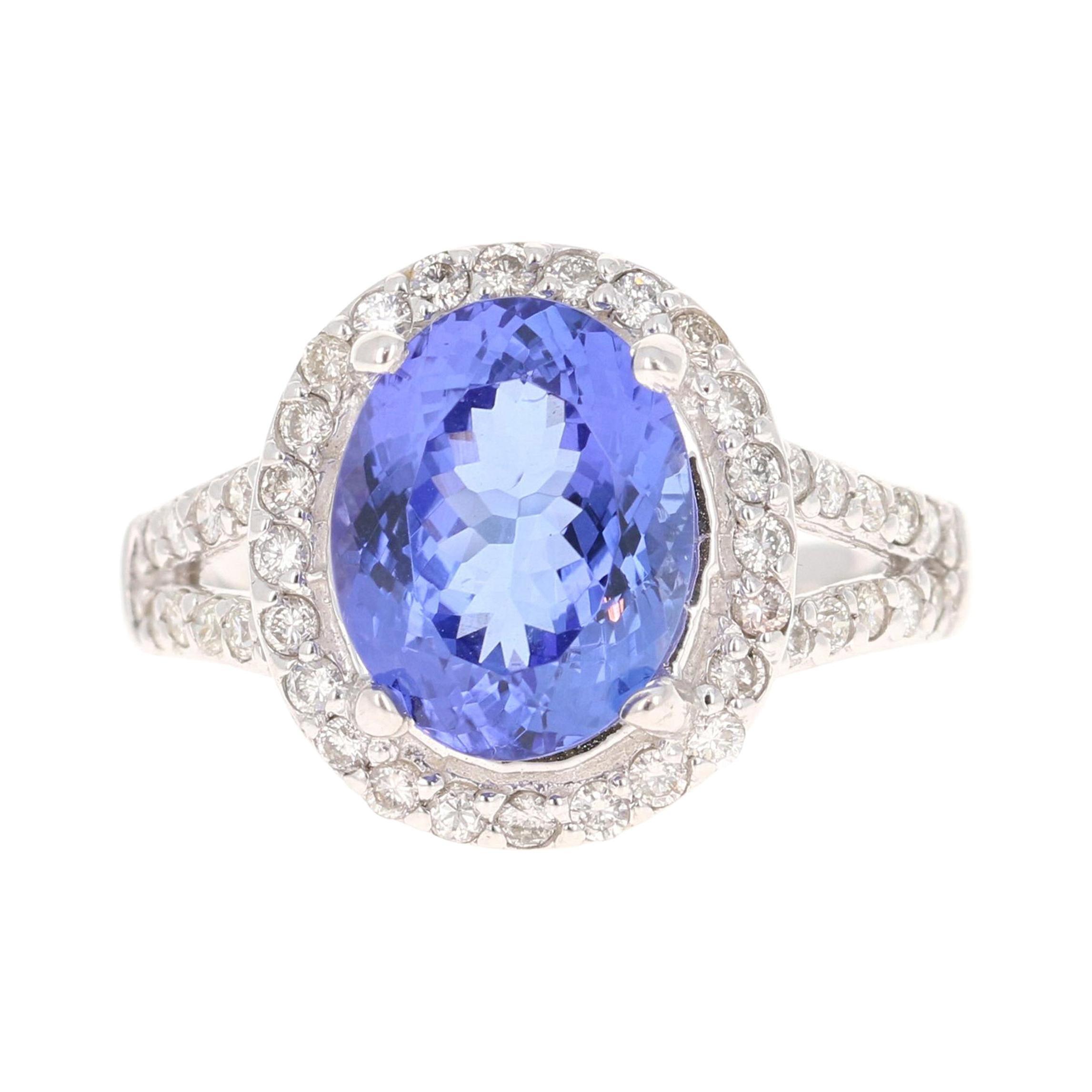 4.89 Carat Tanzanite Diamond 14 Karat White Gold Ring