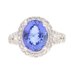 4.89 Carat Tanzanite Diamond 14 Karat White Gold Ring