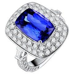 4.89 Carat Tanzanite Diamond Ring 18 Karat White Gold