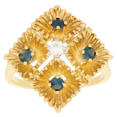 .48ctw Round Cut Sapphire & Diamond Ring, 18k Yellow Gold Etched