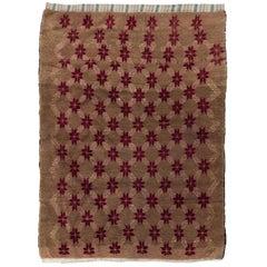 4.8x6.7 Ft Camel Wool Vintage Turkish Rug with Interlocking Cloves