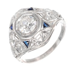 .49 Carat Diamond Sapphire Art Deco Platinum Engagement Ring