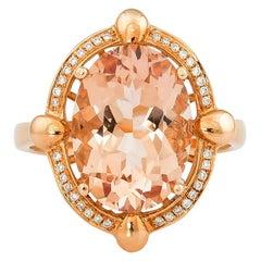 4.9 Carat Morganite and Diamond Ring in 18 Karat Rose Gold