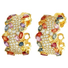 18 Karat Gold Rainbow Sapphire Diamond Hoop Earrings