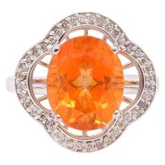 4.9 Carat Sunset Topaz and Diamond Ring