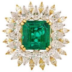 4.9 Carat Zambian Emerald and Yellow & White Diamond Ring in 18 Karat White Gold