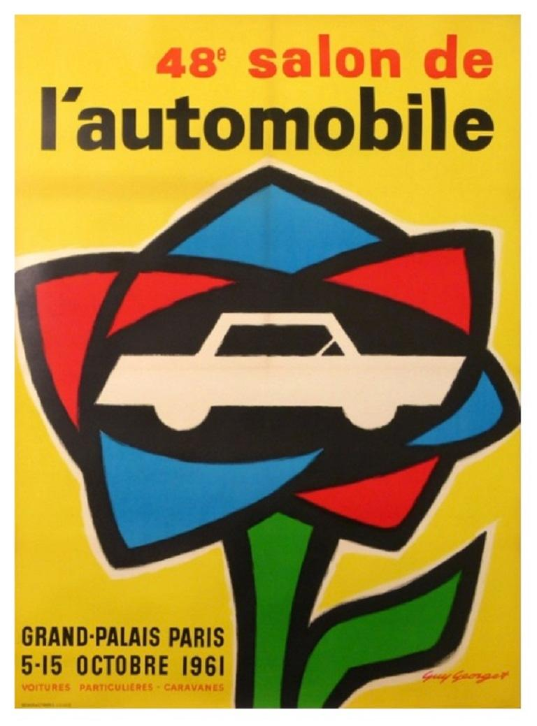 Original vintage 1960s Poster designed by Guy Georget for a motor show in Paris, held during the month of October.