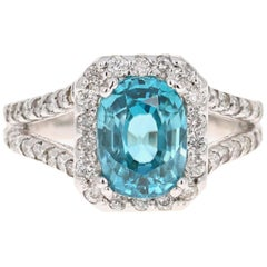 4.90 Carat Blue Zircon Diamond 14 Karat White Gold Ring