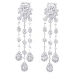 4.90 Carat Diamond 18 Karat White Gold Chandelier Earrings