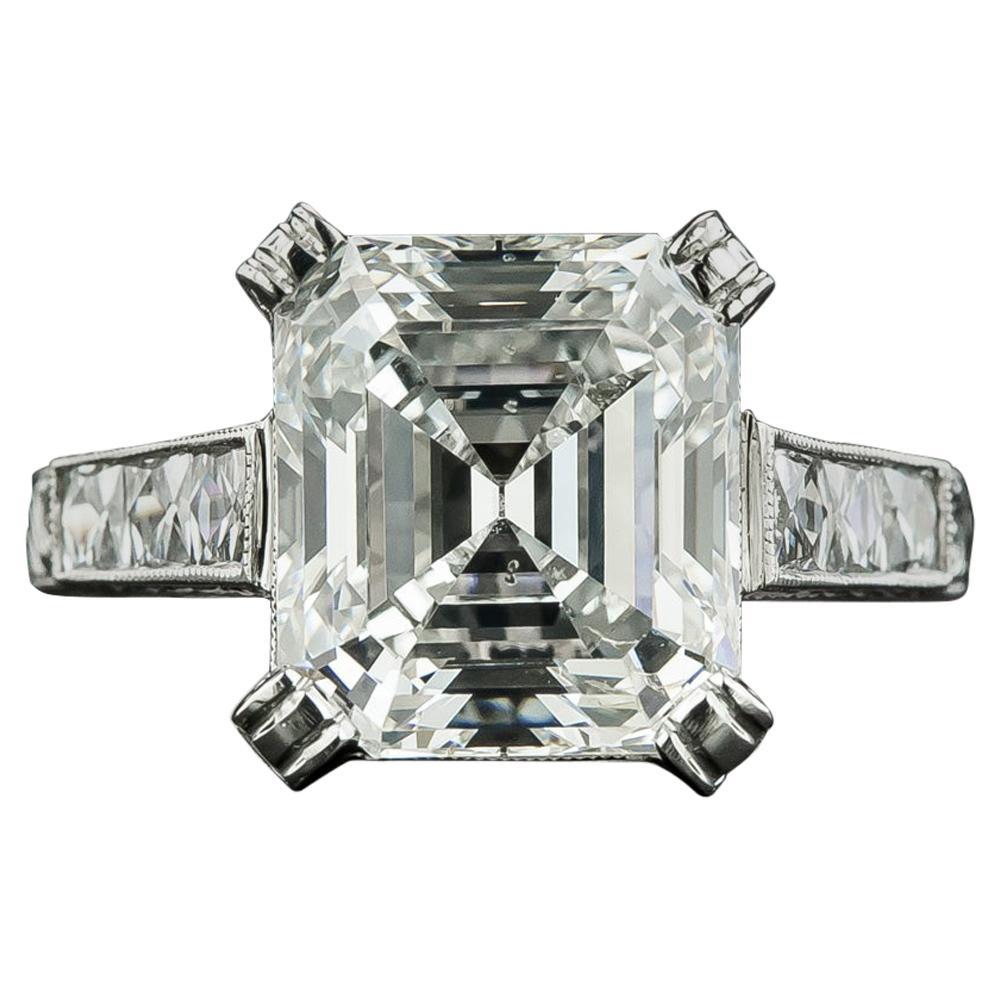 4.90 Carat Emerald-Cut Diamond Engagement Ring, GIA I SI2