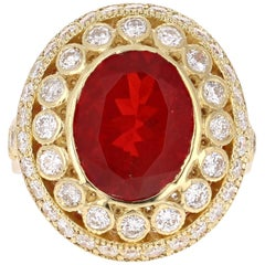 4.90 Carat Fire Opal Diamond 18 Karat Yellow Gold Ring