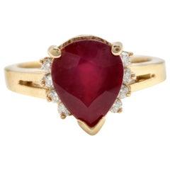 4.90 Carat Impressive Red Ruby and Diamond 14 Karat Yellow Gold Ring