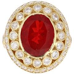 4.90 Carat Mexican Fire Opal Diamond 18 Karat Yellow Gold Cocktail Ring