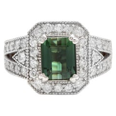 4.90 Carat Natural Green Tourmaline and Diamond 18 Karat Solid White Gold Ring