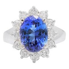 4.90 Carat Natural Tanzanite and Diamond 14 Karat Solid White Gold Ring
