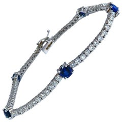 4.90 Carat Natural Vivid Royal Blue Round Sapphires Diamond Bracelet 14 Karat
