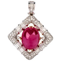 49.04 Carat Cabochon GIA Ruby and Diamond 18 Karat Gold Pendant