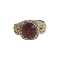 4.91 Carat Cushion Cut Red Spinel & Diamond Ring in 18k White Gold