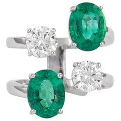 4.91 Carat Floating Diamonds and Emeralds Ring 18k Gold EGL Certified Diamonds
