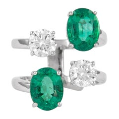 4.91 Carat Floating Diamonds and Emeralds Ring 18k Gold EGL Certified Diamonds