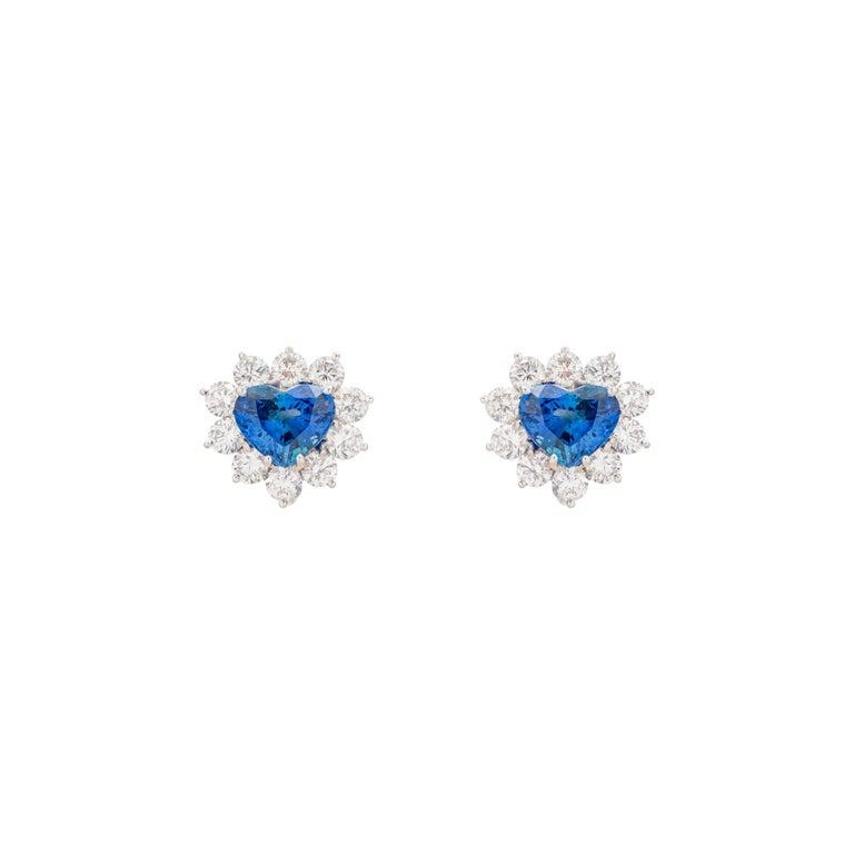 Modern 4.91 Carat Heart Shaped Sapphire Diamond Earrings For Sale