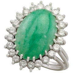 4.91 Carat Jadeite and 1.00 Carat Diamond White Gold Cocktail Ring