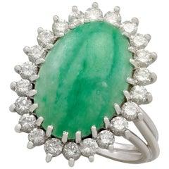 4.91 Carat Jadeite and 1.00 Carat Diamond White Gold Dress Ring